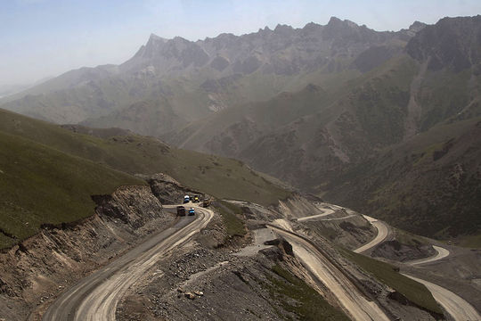 The Pamir Highway winding between Osh, Kyrgyzstan and Murgab, Tajikstan.