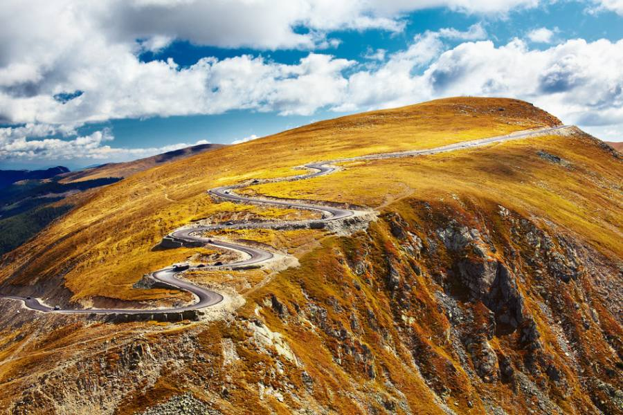 Transalpina, the highest road in Romania, crossing the Parang mountains